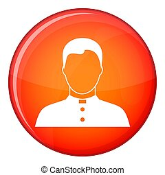 Pastor icon, flat style - Pastor icon in red circle isolated...