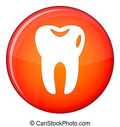 Tooth icon, flat style - Tooth icon in red circle isolated...
