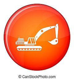 Excavator icon, flat style - Excavator icon in red circle...