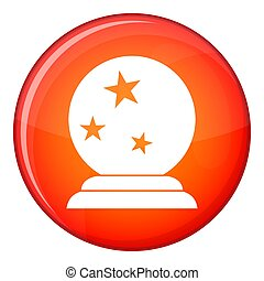 Magic ball icon, flat style - Magic ball icon in red circle...