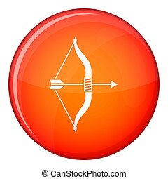 Bow and arrow icon, flat style - Bow and arrow icon in red...