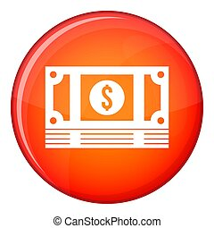 Stack of money icon, flat style - Stack of money icon in red...