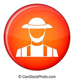 Farmer icon, flat style - Farmer icon in red circle isolated...