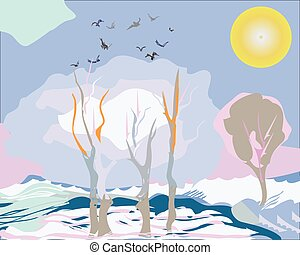 Early Spring Background - Illustration of trees, thawing...