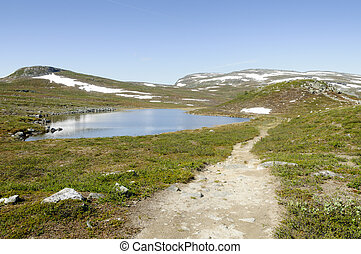 Lapland landscape and hiking path - Lapland landscape:...