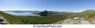 Lapland landscape: panoramic view of Lake Kilpisjarvi and...