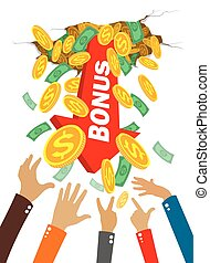 hands grab money and coins