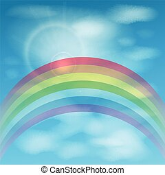 rainbow against the sky with clouds. illustration
