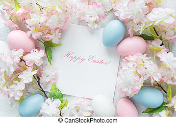 Beautiful delicate Easter frame with pink cherry flowers and...
