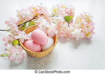 Easter card with easter eggs and pink flowers - Easter card...