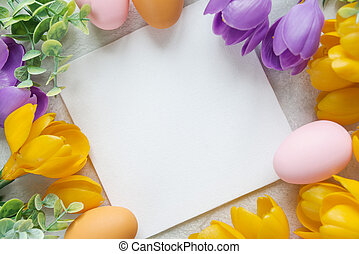 Easter card with crocus flowers - Easter card with blank...