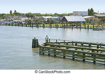 Waterfront in Chincoteague, Virginia with Seagulls and...