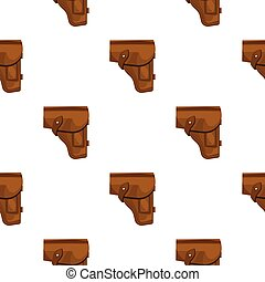 Army handgun holster icon in cartoon style isolated on white...