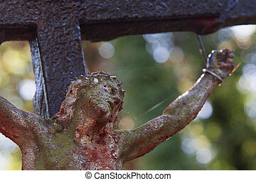 the crucifixion of Jesus Christ (fragment of statue) - the...