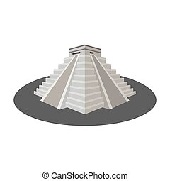 Chichen Itza icon in monochrome style isolated on white...