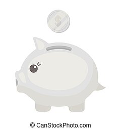 Donation piggybank icon in monochrome style isolated on...