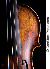 Violin Viola Close Isolated on Black - A antique violin...