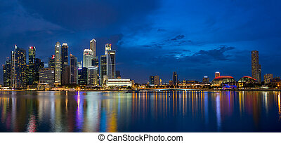 Singapore Skyline at Blue Hour Panorama - Singapore Central...