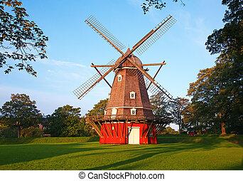 moinho de vento, vermelho