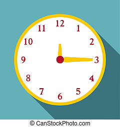 Round wall clock icon, flat style - Round wall clock icon....