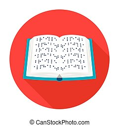 Book written in braille icon in flat style isolated on white...