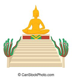 Budda icon, cartoon style - Budda icon. Cartoon illustration...