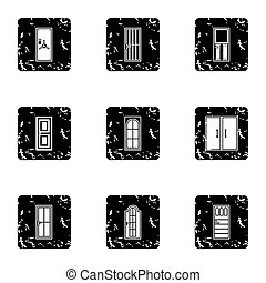 Security doors icons set, grunge style - Security doors...