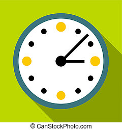 Big wall clock icon, flat style - Big wall clock icon. Flat...