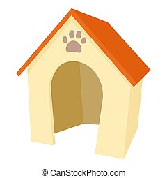 Dog house icon, cartoon style - Dog house icon. Cartoon...