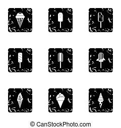 Sundae icons set, grunge style - Sundae icons set. Grunge...