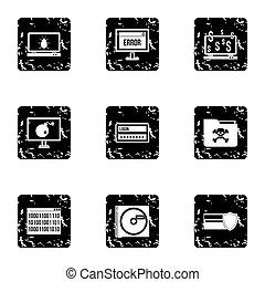 Data theft icons set, grunge style - Data theft icons set....