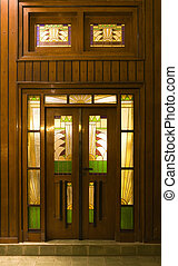 Art deco door - Door of an hotel in art deco style in Solo,...