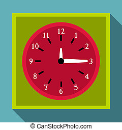 Square wall clock icon, flat style - Square wall clock icon....