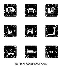 Warehouse icons set, grunge style - Warehouse icons set....