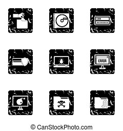Ddos attack icons set, grunge style - Ddos attack icons set....
