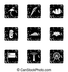 Holiday in Singapore icons set, grunge style - Holiday in...