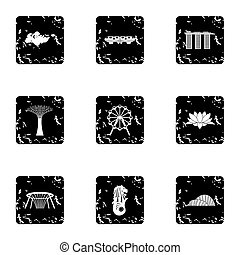 Attractions of Singapore icons set, grunge style -...