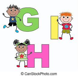 alphabet letters G H I - kids playing with letters G H I
