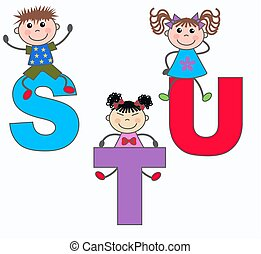 alphabet letters S T U - kids playing with letters S T U