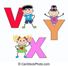 alphabet letters V X Y - kids playing with letters V X Y