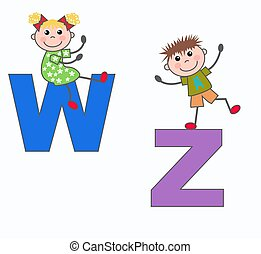 alphabet letters W and Z - kids playing with letters W and Z