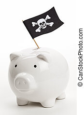 Pirate Flag and Piggy Bank, concept of business crime