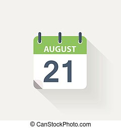 21 august calendar icon on grey background