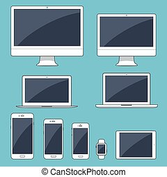 Vector illustration, set of modern electronic devices...