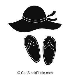 Beach hat with flip-flops icon in black style isolated on white background. Family holiday symbol stock vector illustration.