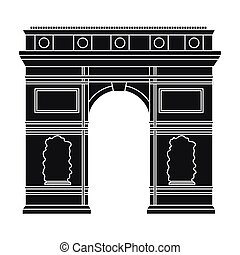 Triumphal arch icon in black style isolated on white...