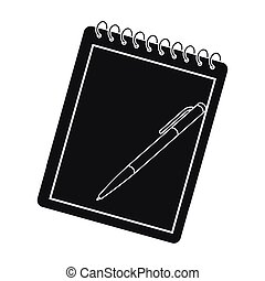 Notebook and pen icon in black style isolated on white background. Hipster style symbol stock vector illustration.