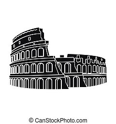 Colosseum in Italy icon in black style isolated on white...