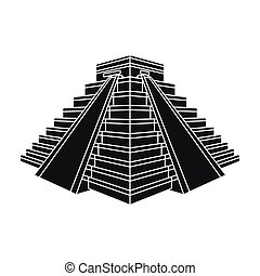 Chichen Itza icon in black style isolated on white...