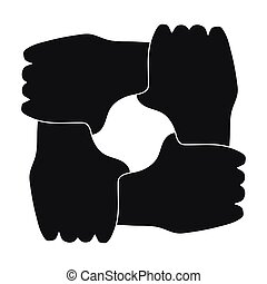 Ring of hands icon in black style isolated on white background. Charity and donation symbol stock vector illustration.